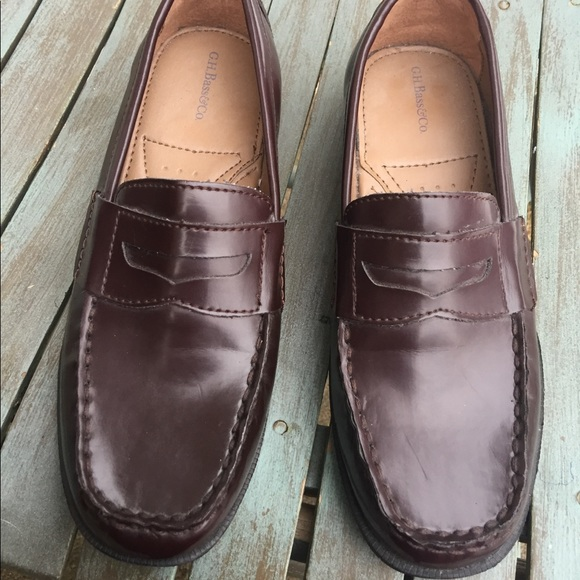 Boys Bass Red Brown Penny Loafers Size